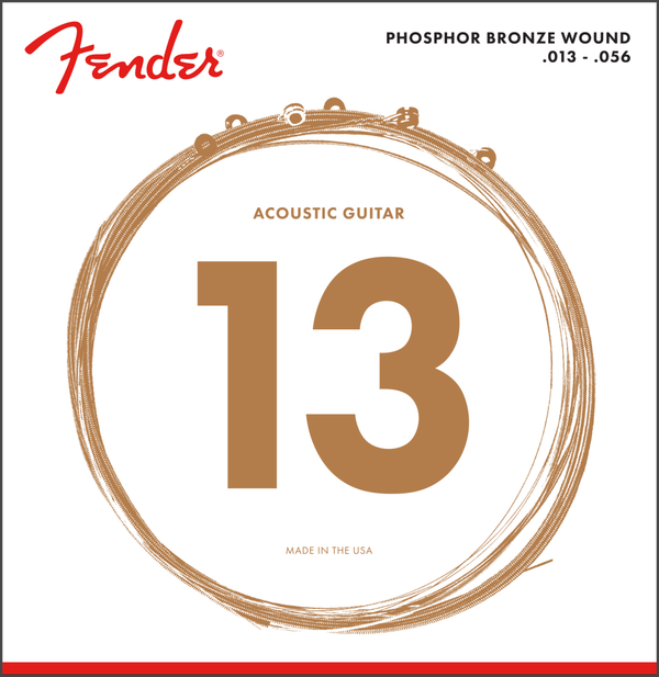 Fender Phosphor Bronze Acoustic Guitar Strings, Ball End, 60L