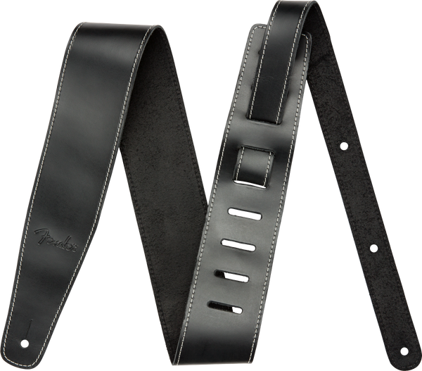 Fender® Broken-In Leather Strap, Black 2.5""
