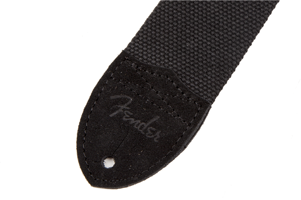 Fender® Cotton/Leather Strap, Black