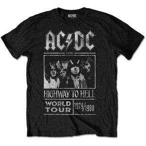 AC/DC UNISEX TEE: HIGHWAY TO HELL WORLD TOUR 1979/1980