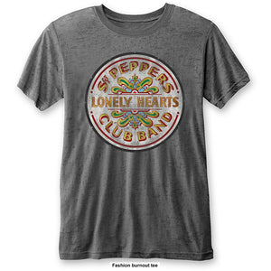 THE BEATLES UNISEX FASHION TEE: SGT PEPPER DRUM (BURN OUT)