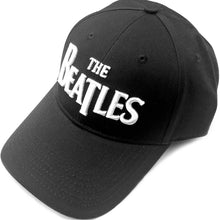 THE BEATLES UNISEX BASEBALL CAP: WHITE DROP T LOGO