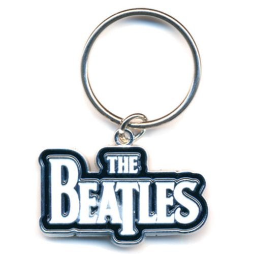THE BEATLES KEYCHAIN: DROP T LOGO (WHITE) (ENAMEL IN-FILL)