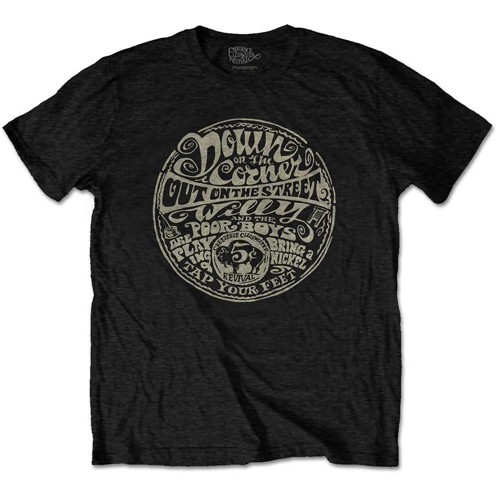 CREEDENCE CLEARWATER REVIVAL UNISEX TEE: DOWN ON THE CORNER