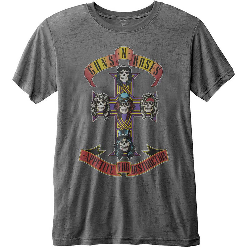 GUNS N' ROSES UNISEX FASHION TEE: APPETITE FOR DESTRUCTION (BURN OUT)