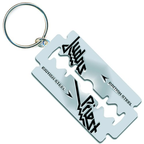 JUDAS PRIEST KEYCHAIN: BRITISH STEEL RAZOR BLADE (ENAMEL IN-FILL)