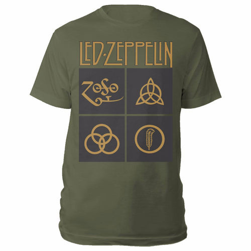 LED ZEPPELIN UNISEX TEE: GOLD SYMBOLS IN BLACK SQUARE