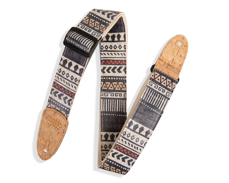 "STRAP GUITAR LEVY'S 2"" Cork Guitar Strap With Zanzibar Print on Natural"