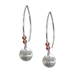 Silver mini circle earrings, small silver disk with copper beads.  Dragonfly image shown here.
