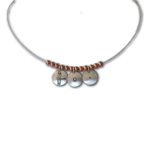 Silver mini circles necklace.  3 small silver disks with copper beads.  Dragonfly image shown here.