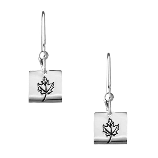 Sterling silver square earrings with Canadian symbols.