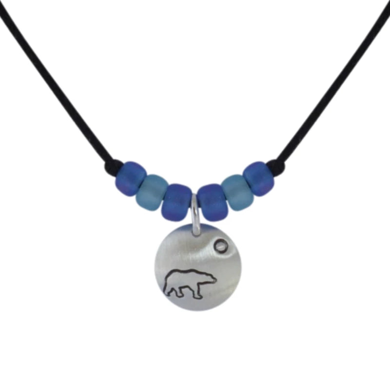 Sterling silver cord necklace with Canadian symbols.  Polar bear symbol pictured here.