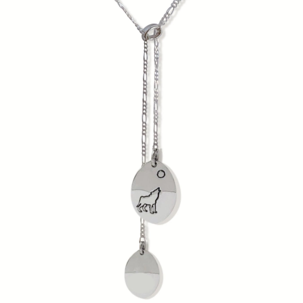 Sterling silver dangling oval necklace with Canadian symbols.  Wolf symbol pictured here.
