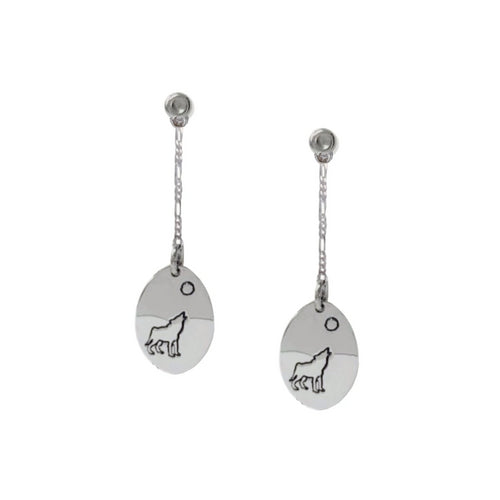 Sterling silver dangling oval earrings with Canadian symbols.  Wolf symbol pictured here.