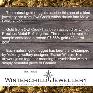 Gold nugget information, from the Owl Creek Claim, samples assayed at over 23 karat gold.