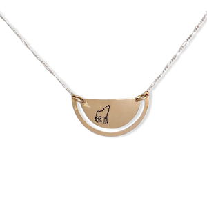 14 karat gold-fill and sterling silver Sunrise Ulu Necklace.   Wolf symbol pictured here.