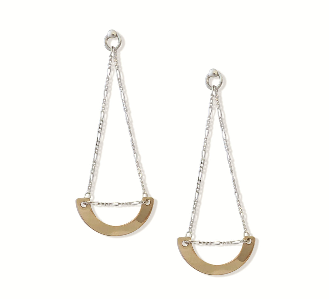14 karat gold-fill and sterling silver Sunrise Ulu Earrings.