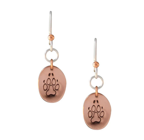 Copper and sterling silver oval earrings with Canadian symbols.  Dog paw print symbol pictured here.