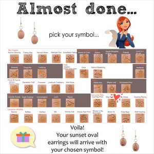 instructions on choosing symbol for sunset oval earrings