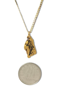 Gold nugget dolphin pendant on 10 karat gold chain photo with dime to show scale.
