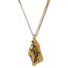 Gold nugget dolphin pendant on 10 karat gold chain.