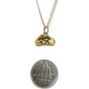 Gold nugget horse pendant on 10 karat gold chain photo with dime to show scale.