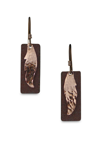 Copper and antique tin Alice Earrings.