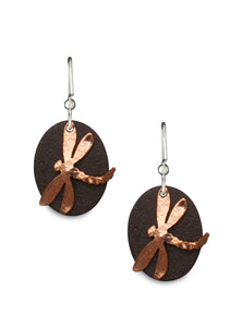 Antique Tin and Copper Dorrie's Dragonfly earrings.