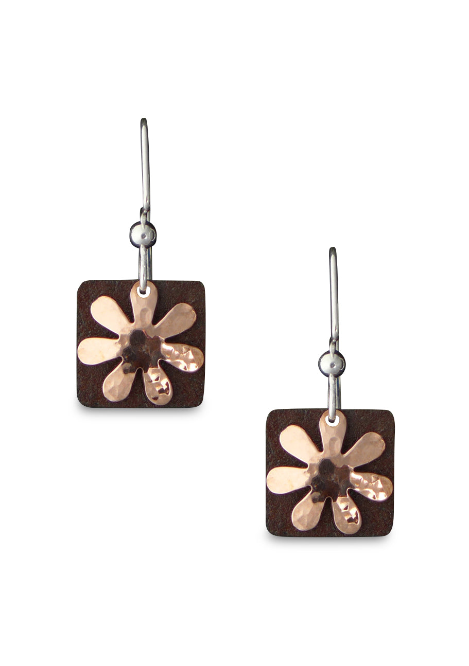 Antique Tin and Copper Flora earrings.
