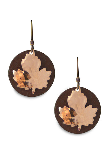 Antique Tin and Copper Emily's Maple earrings.