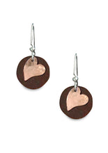 Antique Tin and Copper Tillie's Heart earrings.
