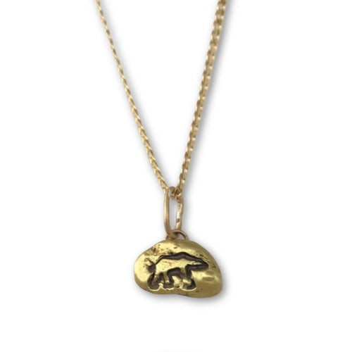 Gold Nugget necklace with Polar Bear Symbol on 18