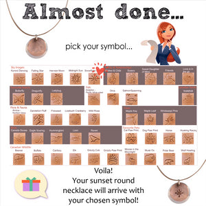 instructions on choosing symbol for sunset round necklace.