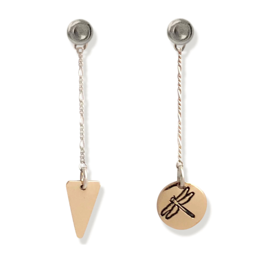 14 karat gold-fill and sterling silver Sunrise Geometric Earrings.  Dragonfly symbol pictured here.