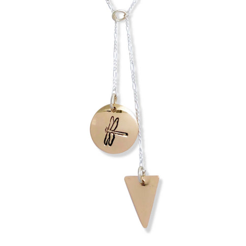 14 karat gold-fill and sterling silver Sunrise Geometric Necklace with Canadian symbols.