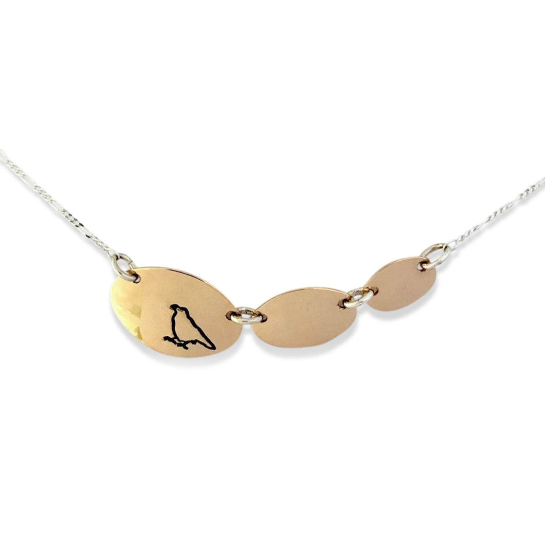 14 karat gold-fill and sterling silver Sunrise Three Ovals Necklace with Canadian symbols.