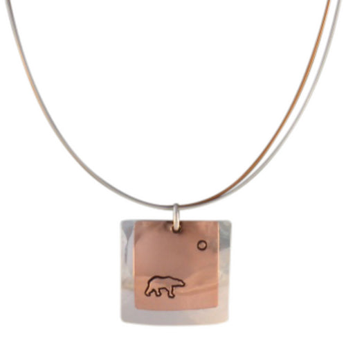 Copper and sterling silver square necklace with Canadian symbols.  Polar Bear symbol pictured here.