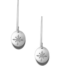 Sterling silver oval earrings with Canadian symbols.  Snowflake pictured here.