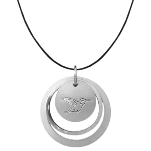 Sterling silver circle necklace with Canadian symbols.