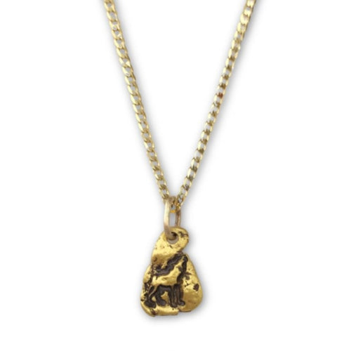 Gold Nugget Necklace with Wolf symbol