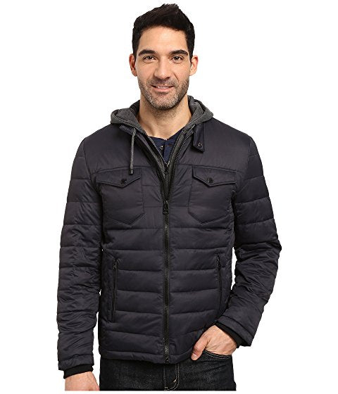 Zip Front Twill Jacket with Hood
