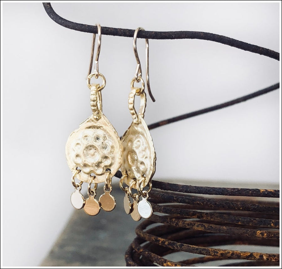 Earwires / Gold Charm Daisy Drops
