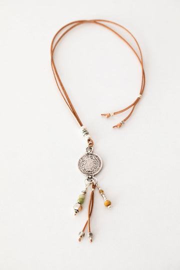 Necklace /Leather -  Coin Tassel Pendant
