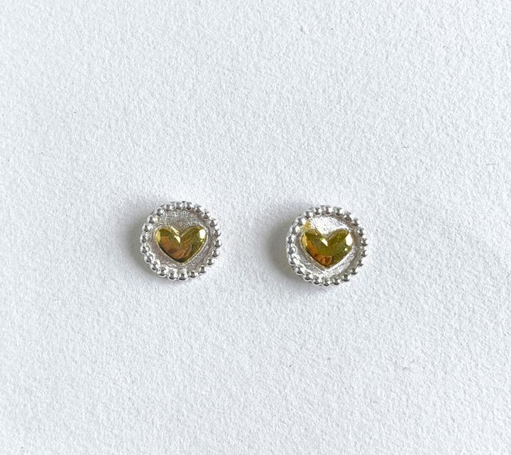 Earrings / Heart Disc Studs