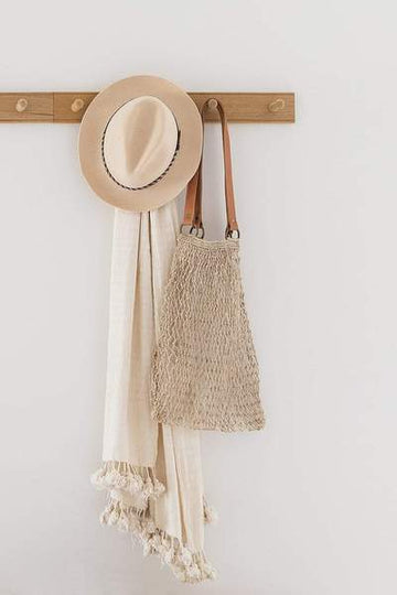 String Bag / Jute - Natural + Tan Handles