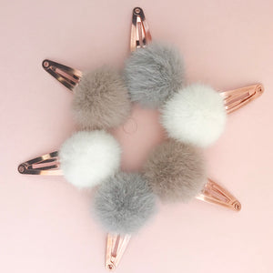 SNAP CLIPS // faux fur poms