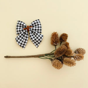 BABY SADIE BOW // black + white mini check