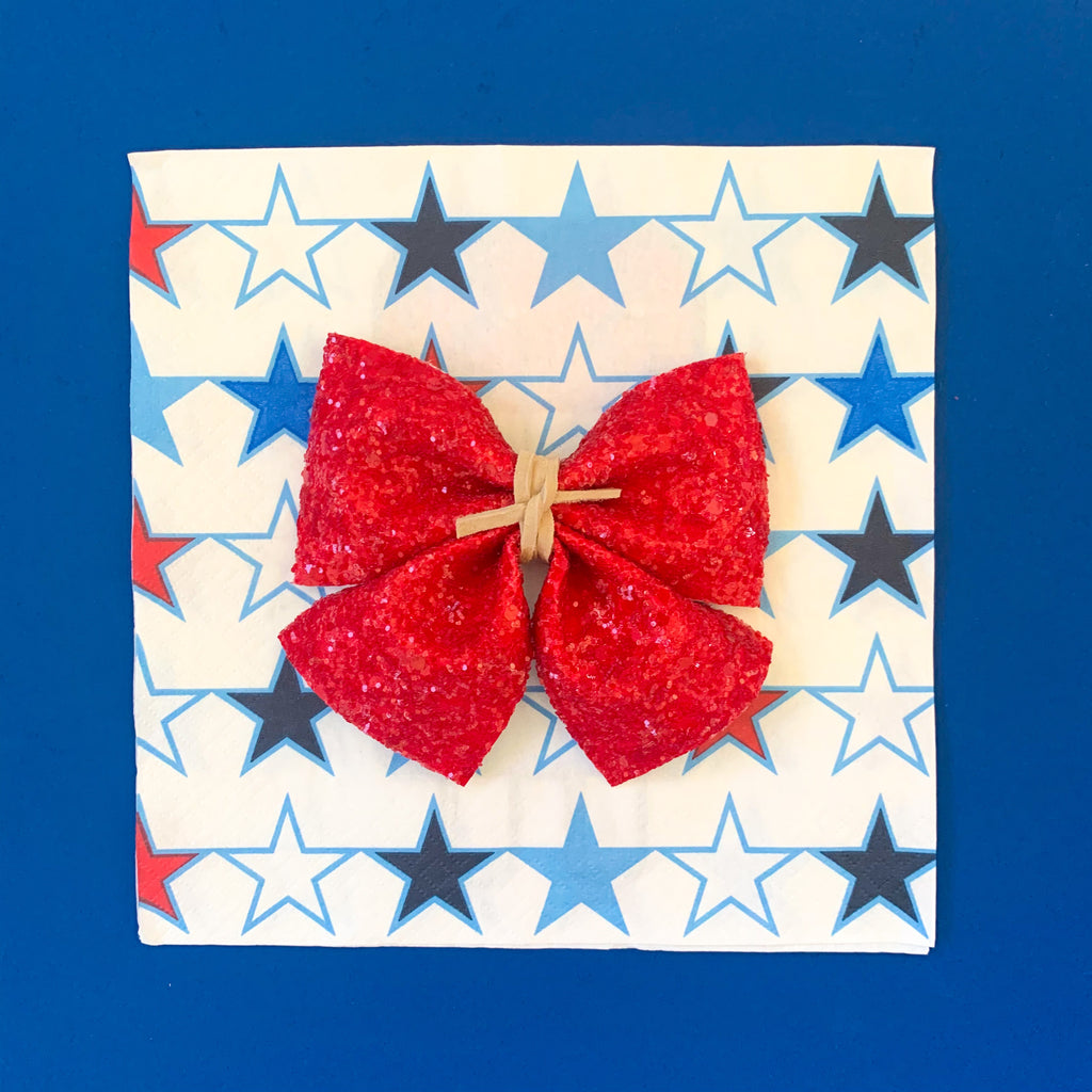 SADIE BOWS // CANDY APPLE RED GLITTER