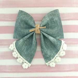 SADIE BOW // chambray + lace