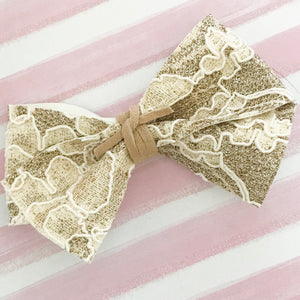 ALICE BOW // gold glitter + lace